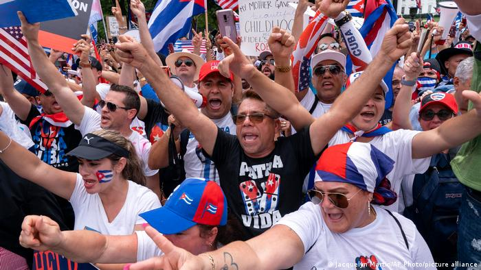 People protest the Cuban government in Washington D.C.
