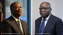 links Ivory Coast's President Alassane Ouattara addresses participants of the G20 Investment Summit - German Business and the CwA Countries 2019 on the sidelines of a Compact with Africa (CwA) in Berlin, Germany on Nov. 19, 2019. (John MacDougall/Pool via AP) rechts epa05130981 Former Ivory Coast president Laurent Gbagbo arrives for the start of his trial at the International Criminal Court in The Hague, Netherlands, 28 January 2016. Gbagbo is in court along with a former youth minister Charles Ble Goude on charges of involvement in violence after 2010 presidential elections that left 3,000 people dead in Ivory Coast, once a haven of stability in West Africa. EPA/PETER DEJONG / POOL ++