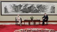U.S. Deputy Secretary of State Wendy Sherman (L) meets with Chinese Foreign Minister Wang Yi in Tianjin, on Monday, July 26, 2021. Beijing has indicated that the U.S. is treating China as an imaginary enemy after the meeting between top diplomats Sherman and Wang. Photo by U.S. State Department/ UPI Photo via Newscom picture alliance