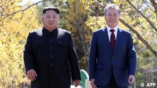 südkoreanischer Präsident Moon Jae-in und des nordkoreanischer Präsident Kim Jong Un