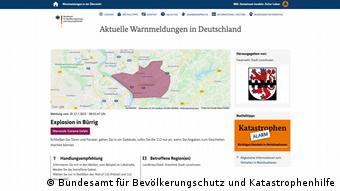 Карта на сайте Федерального ведомства по защите населения Германии