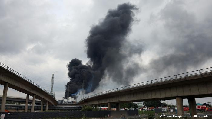 A cloud of smoke above Chempark in Leverkusen