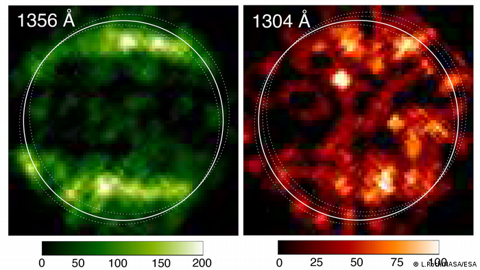 En 1998, el espectrógrafo de imágenes del telescopio espacial Hubble (STIS) tomó estas primeras imágenes ultravioletas (UV) de Ganímedes, que revelaron un patrón particular en las emisiones observadas de la atmósfera de la luna.