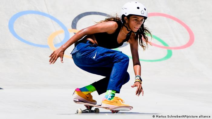 Rayssa Leal skateboards at the Olympics