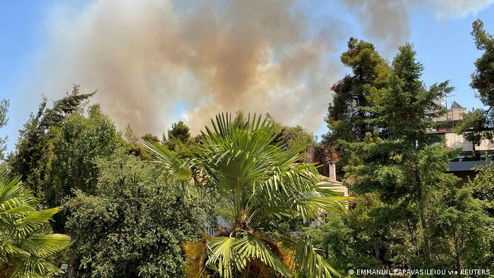 Smoke billows from a wildfire, as seen from Drosia, near Athens