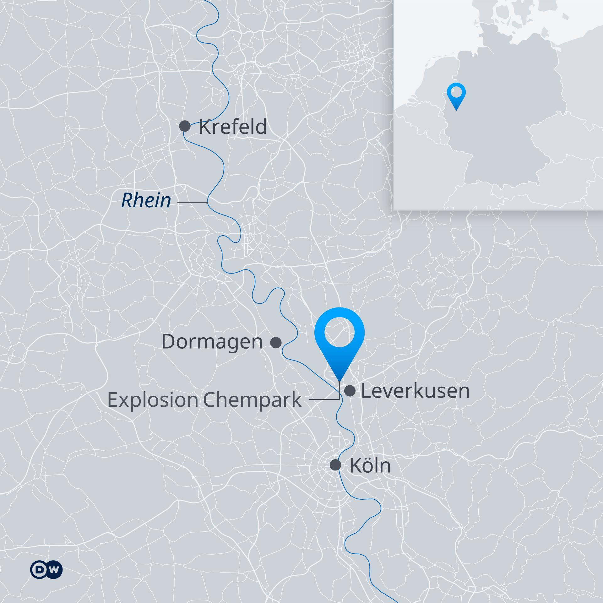 Karte Explosion Chempark Leverkusen DE