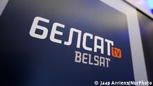 Belsat logos are seen during the fifth Warsaw Security Forum in Warsaw, Poland on October 24, 2018. Belsat is an independent news channel based in Poland broadcasting to Belarus to provide an alternative to the censored state run media in Belarus. (Photo by Jaap Arriens/NurPhoto)