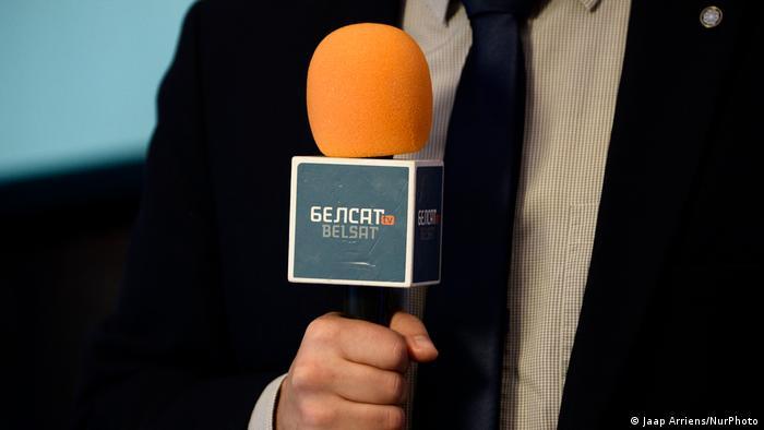 Микрофон с логотипом Белсата