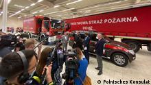 Kreuzau NRW: Innenminister Herbert Reul mit polnischer Delegation. Humanitäre Hilfe von der polnischen Regierung für Hochwasseropfer.