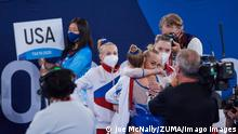 July 27, 2021, Tokyo, Kanto, Japan: Team Russia celebrates coming in first and winning the gold medal during the exciting women s gymnastics final at the 2020 Tokyo Olympics at Ariake Gymnastics Center in Tokyo, Japan. Tokyo Japan - ZUMAm163 20210727_znp_m163_009 Copyright: xJoexMcNallyx