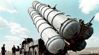 Russian S-300 air defence missiles at a military training camp