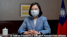 In this photo released by the Taiwan Presidential Office, Taiwan's President Tsai Ing-wen speaks at the presidential office in Taipei, Taiwan, Sunday, June 20, 2021. The U.S. sent 2.5 million doses of the Moderna COVID-19 vaccine to Taiwan on Sunday, tripling an earlier pledge in a donation with both public health and geopolitical meaning. (Taiwan Presidential Office via AP)