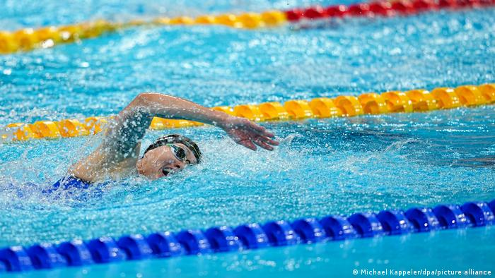 A female swimmer at the Tokyo Olympics