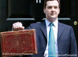 Chancellor of the Exchequer George Osborne holds Disraeli's original budget box as he leaves 11 Downing Street for Parliament to deliver his first Budget as Chancellor, Tuesday June 22, 2010. Photo By Andrew Parsons