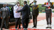 27.07.2021 Former Ivory Coast President Laurent Gbagbo, left, is greeted by Ivory Coast's President Alassane Ouattara at the presidential palace in Abidjan Tuesday, July 27, 2021. The meeting of the two leaders was highly anticipated and was an attempt to ease political tensions that have been present since their last meeting more than a decade ago, when Ouattara defeated Gbagbo in presidential elections. (AP Photo/ Diomande Ble Blonde)