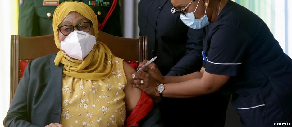 Tanzania's President Samia Suluhu Hassan receives her Johnson & Johnson vaccine against the coronavirus disease (COVID-19) at State House in Dar es Salaam
