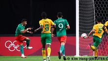 Tokyo 2020 Olympics - Soccer Football - Men - Group A - South Africa v Mexico - Sapporo Dome, Sapporo, Japan - July 28, 2021. Alexis Vega of Mexico scores their first goal REUTERS/Kim Hong-Ji