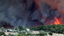 Copyright: DHA, Demirören Nachrichten Agentur. Alle Rechte sind frei für DW. Waldbrand in Antalya bedroht Häuser. Via Jülide Danışman