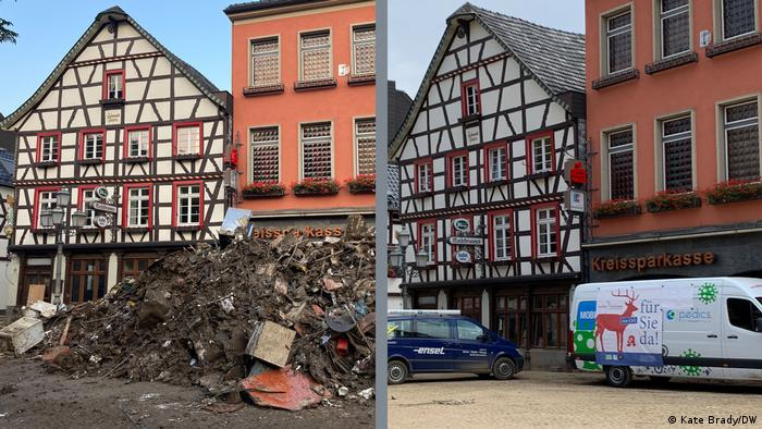 Two photos of quaint houses in Ahrweiler — one showing them with a pile of waste in front, the other with a only muddy cobble-stone street after the waste has been cleared away.