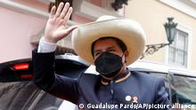 President-elect Pedro Castillo arrives to the Foreign Ministry before going to Congress for his swearing-in, on his Inauguration Day in Lima, Peru, Wednesday, July 28, 2021. (AP Photo/Guadalupe Pardo)