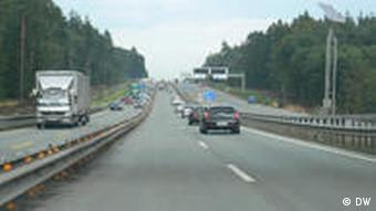 The motorway and its new six lanes