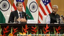 U.S. Secretary of State Antony Blinken, left, speaks as Indian Foreign Minister SubrahmanyamJaishankar listens during a joint news conference at Jawaharlal Nehru Bhawan (JNB) in New Delhi, India, Wednesday, July 28, 2021. Blinken was talking with top Indian officials Wednesday in meetings that are expected to deepen ties between the important allies that are both rivals to a rising China. (Jonathan Ernst/Pool Photo via AP)