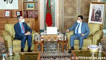 Morocco's Foreign Minister Nasser Bourita (R) receives Senior US State Department official Joey Hood in Rabat on July 28, 2021. (Photo by - / AFP) (Photo by -/AFP via Getty Images)