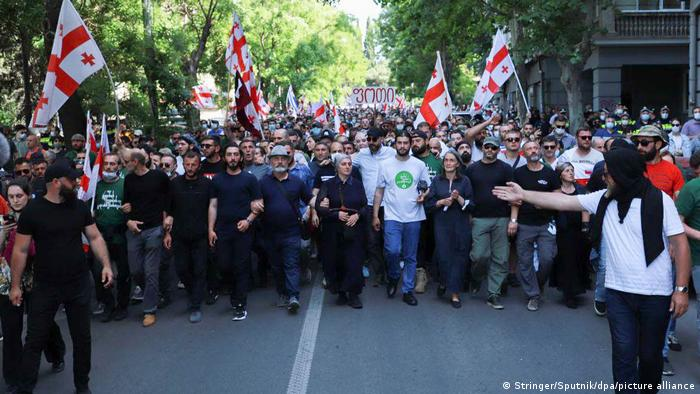 Protestors take to the streets of Tbilisi to rally against the construction of the Namakhvani Hydropower Plant on the Rioni river
