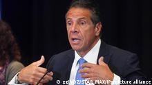 Photo by: zz/NDZ/STAR MAX/IPx 2021 7/26/21 New York State Governor Andrew Cuomo holds a press conference at Yankee Stadium on July 26, 2021 in The Bronx, New York City. The stadium is currently serving as a vaccination site during the worldwide coronavirus pandemic. The governor announced the allocation of $15 million from the New York State budget to promote vaccinations in communities across the state that were hardest-hit by the COVID-19 pandemic. (NYC)