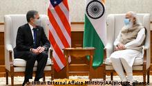 NEW DELHI, INDIA - JULY 28: (----EDITORIAL USE ONLY MANDATORY CREDIT - MINISTRY OF EXTERNAL AFFAIRS GOVERNMENT OF INDIA / HANDOUT - NO MARKETING NO ADVERTISING CAMPAIGNS - DISTRIBUTED AS A SERVICE TO CLIENTS----) U.S. Secretary of State Antony Blinken (L) meets Indian Prime Minister Narendra Modi at his Residence in New Delhi on India on 28 July, 2021. Indian External Affairs Ministry/Handout / Anadolu Agency