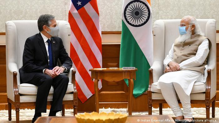 Menlu AS Blinken dengan PM India Modi