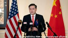 (210729) -- WASHINGTON, July 29, 2021 (Xinhua) -- China's new Ambassador to the United States Qin Gang makes remarks to Chinese and U.S. media upon arrival in the United States on July 28, 2021. (Xinhua/Liu Jie)