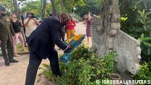 U.S. Defense Secretary Lloyd Austin visits the site where late U.S. Senator John McCain's plane was shot down on Oct 26, 1967 in Hanoi, Vietnam, July 29, 2021. REUTERS/Idrees Ali