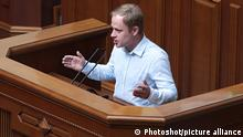 16.09.2020 KYIV, UKRAINE - SEPTEMBER 16, 2020 - MP of the Holos Party faction Yaroslav Yurchyshyn speaks during a regular sitting of the Ukrainian parliament, Kyiv, capital of Ukraine.