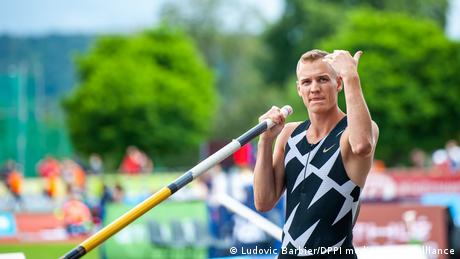 Pole vaultingw world champion Sam Kendricks during the Sotteville-les-Rouen Athletics Meet