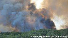 ANTALYA, TURKEY - JULY 28: A view of the forest fire that broke out in Manavgat district of Turkey's Antalya on July 28, 2021. Ground and air support works to extinguish the fire are underway. Fatih Hepokur / Anadolu Agency