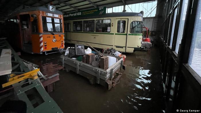 Помещения Музея трамваев, затопленные водой