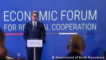 Nord-Mazedonien Wirtschaftsforum in Skopje | Aleksandar Vucic, Präsident Serbien