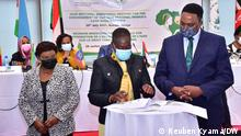 Kenyan Land Minister Farida Karoney (center) and IGAD Executive Secretary Workneh Gebeneyu (left) during the signing of regional resolutions to enable women to own land. Right is the Secretary from the Ministry of Public Service and Gender Affairs of Kenya Prof. Collette Suda. Copy rights: Reuben Kyama - DW Correspondent in Kenya Key words: IGAD, Kenya, Nairobi, Women Rights