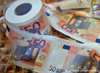 A roll of toilet paper painted to resemble 50 euro banknotes.
