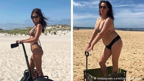 A splitscreen showing a model on the beach and Celeste Barber in the same pose