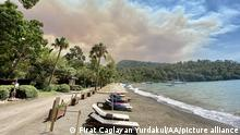 MUGLA, TURKEY - JULY 19: A view from the area after a fire broke out in the forest area in Mugla's Marmaris district in Turkey on July 29, 2021. Firat Caglayan Yurdakul / Anadolu Agency