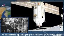 This photo provided by Roscosmos Space Agency Press Service, shows the Nauka module during the docking with the International Space Station on Thursday, July 29, 2021. Russia's long-delayed lab module successfully docked with the International Space Station on Thursday, eight days after it was launched from the Russian space launch facility in Baikonur, Kazakhstan. The 20-metric-ton (22-ton) Nauka module, also called the Multipurpose Laboratory Module, docked with the orbiting outpost after a long journey and a series of maneuvers.(Roscosmos Space Agency Press Service photo via AP)