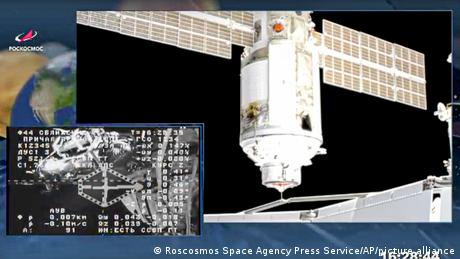 The Nauka module docks with the ISS space station on Thursday