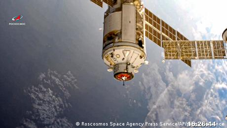 The Nauka module is seen prior to docking with the International Space Station on Thursday