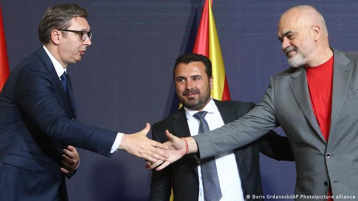 Nord-Mazedonien Skopje | Wirtschaftsforum | Aleksandar Vucic, Zoran Zaev und Edi Rama