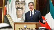 US Secretary of State Antony Blinken speaks during a press conference with his Kuwaiti counterpart at Kuwait's foreign ministry headquarters in Kuwait City on July 29, 2021, while behind is seen a portrait of Kuwait's Crown Prince Mishal al-Ahmad al-Jaber Al-Sabah. (Photo by Yasser Al-Zayyat / AFP) / The erroneous mention[s] appearing in the metadata of this photo by Yasser Al-Zayyat has been modified in AFP systems in the following manner: [Crown Prince Mishal al-Ahmad al-Jaber Al-Sabah] instead of [current emir Nawaf al-Ahmad al-Jaber Al-Sabah]. Please immediately remove the erroneous mention[s] from all your online services and delete it (them) from your servers. If you have been authorized by AFP to distribute it (them) to third parties, please ensure that the same actions are carried out by them. Failure to promptly comply with these instructions will entail liability on your part for any continued or post notification usage. Therefore we thank you very much for all your attention and prompt action. We are sorry for the inconvenience this notification may cause and remain at your disposal for any further information you may require. (Photo by YASSER AL-ZAYYAT/AFP via Getty Images)