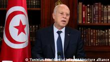 TUNIS, TUNISIA - JULY 26: A screen grab captured from a video on July 26, 2021, shows Tunisian President Kais Saied meets union leaders in Tunis, Tunisia. Tunisian Presidential Image / Anadolu Agency