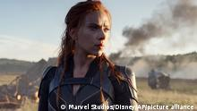 This image released by Disney/Marvel Studios' shows Scarlett Johansson in a scene from Black Widow. (Marvel Studios/Disney via AP)