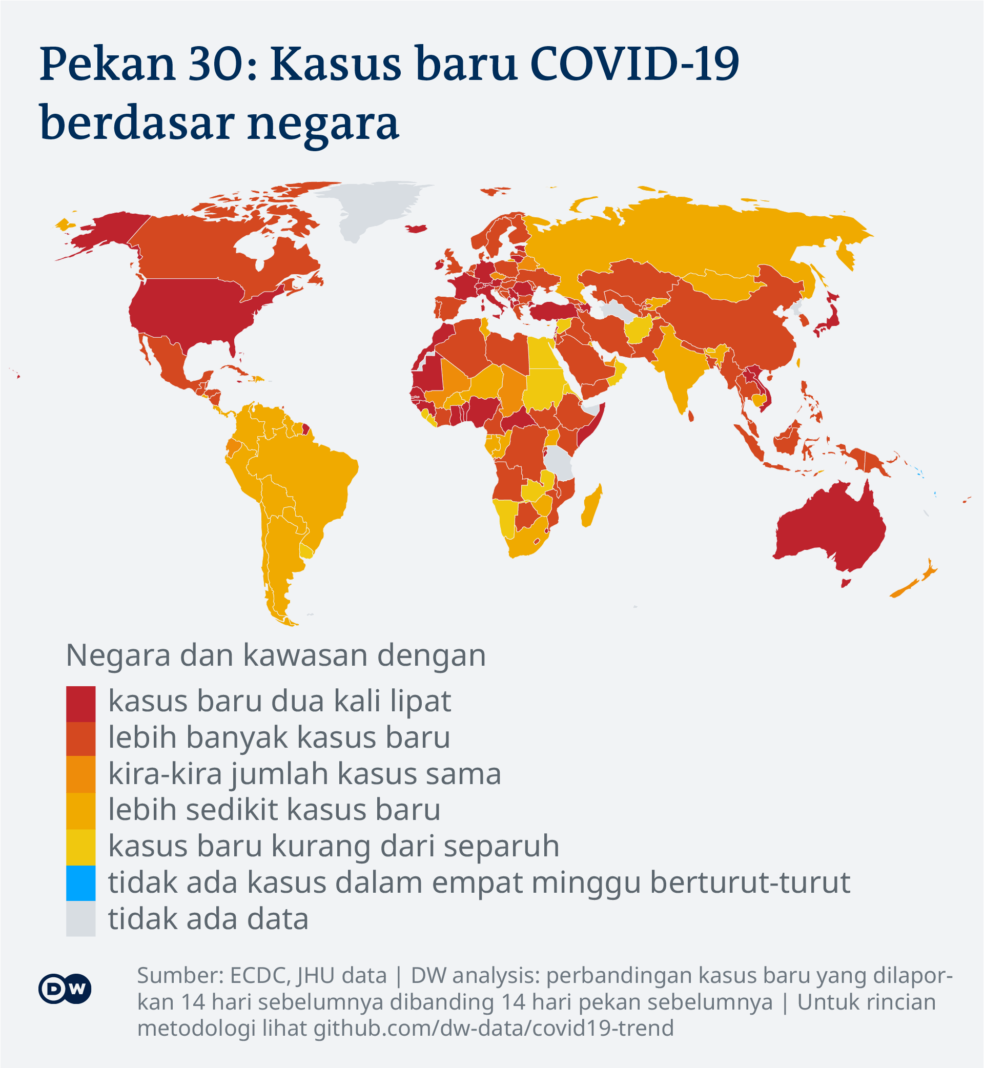 Data visualization: COVID-19 global new case numbers trend - map calendar week 30, 2021 - Indonesian